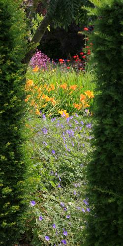 Doorkijkje in bloementuin
