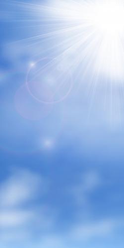 Blauwe lucht met zon