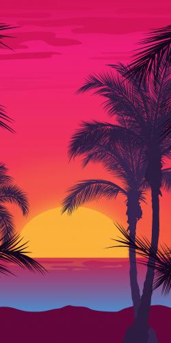 Ondergaande zon en strand