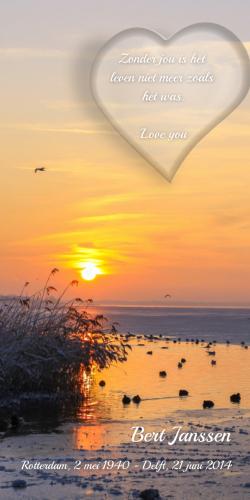Ondergaande zon met hart