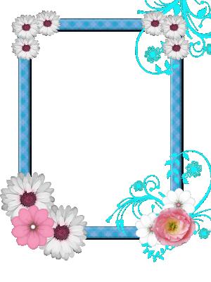 Blauw lint met bloemen